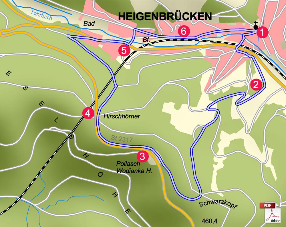 KW Heigenbrücken Karte