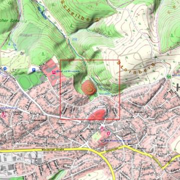 Ortskarte 1:10.000 mit Bodendenkmälern (1500m x 1500m). Quelle: Bayerischer Denkmal-Atlas (www.blfd.bayern.de); Bearbeiter: Karl-Heinz Gertloff, Egelsbach.