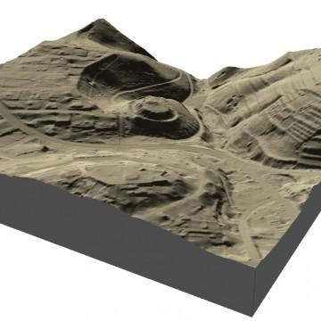 Digitales Geländemodell: Visualisierung als 3D-Schrägansicht aus SSO (500m x 500m, Gelände 2-fach überhöht). Datengrundlage: Bayerische Vermessungsverwaltung 2014; Bearbeiter: Karl-Heinz Gertloff, Egelsbach.