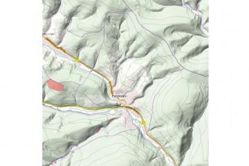 ATKIS® Basis-Landschaftsmodell der Gemarkung Partenstein mit Digitalem Geländemodell und mit Bodendenkmälern (6km x 6km). Quelle: Bayerischer Denkmal-Atlas (www.blfd.bayern.de); Bearbeiter: Karl-Heinz Gertloff, Egelsbach.