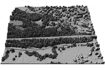 Digitales Oberflächenmodell des Schlossbergs in 3D-Schrägansicht von Süden. Datengrundlage: Bayerische Vermessungsverwaltung 2014; Bearbeiter: Karl-Heinz Gertloff, Egelsbach.