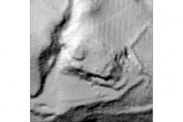 Digitales Geländemodell der Burgruine aus der Laserscannerbefliegung 2005 (100m x 100m). Datengrundlage: Bayerische Vermessungsverwaltung 2014; Bearbeiter: Karl-Heinz Gertloff, Egelsbach.