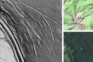 Kulturhistorische Landschaftselemente im Wald: Gelände-Terrassierung. Datengrundlage: Bayerische Vermessungsverwaltung 2014; Bearbeiter: Karl-Heinz Gertloff, Egelsbach.