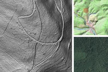 Kulturhistorische Landschaftselemente im Wald: Hohlweg (vom unteren zum oberen Bildrand). Datengrundlage: Bayerische Vermessungsverwaltung 2014; Bearbeiter: Karl-Heinz Gertloff, Egelsbach.