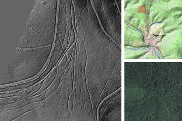 Kulturhistorische Landschaftselemente im Wald: Hohlwege bzw. Fahrspuren. Datengrundlage: Bayerische Vermessungsverwaltung 2014; Bearbeiter: Karl-Heinz Gertloff, Egelsbach.