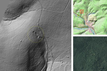 Kulturhistorische Landschaftselemente im Wald: ehemalige Abbau-/Schürfstellen oder Pingen(?). Datengrundlage: Bayerische Vermessungsverwaltung 2014; Bearbeiter: Karl-Heinz Gertloff, Egelsbach.