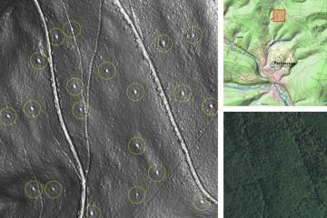 Kulturhistorische Landschaftselemente im Wald: ehemalige Meilerplätze. Datengrundlage: Bayerische Vermessungsverwaltung 2014; Bearbeiter: Karl-Heinz Gertloff, Egelsbach.