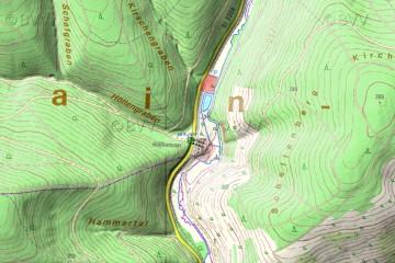 Umgebung der Burg Mole in der Digitalen Ortskarte mit Geländeschattierung. Karte: Bayerischer Denkmal-Atlas.