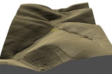 DGM-Visualisierung als 3D-Schrägansicht von Norden auf das Elsava-Tal im Bereich der Burg Mole (Gelände 25% überhöht). Datengrundlage: Bayerische Vermessungsverwaltung; Bearbeiter: Karl-Heinz Gertloff, Egelsbach.