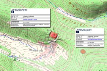 Digitale Ortskarte 1:10000 mit Bodendenkmälern und zugehörigen Fachdaten (Gebietsausschnitt 800 m x 1200 m). Quelle: Bayerischer Denkmal-Atlas (www.blfd.bayern.de)