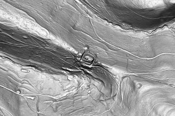 Schummerungsdarstellung des Digitalen Geländemodells DGM1 (Gebietsausschnitt 800 m x 1200 m). Datengrundlage: Bayerische Vermessungsverwaltung; Bearbeiter: Karl-Heinz Gertloff