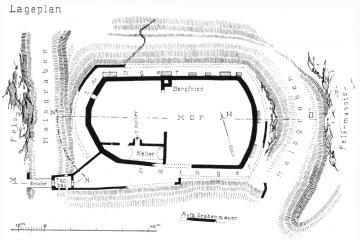 Lageplan mit dem Grundriss der Burgruine. Quelle: Archäologisches Spessartprojekt