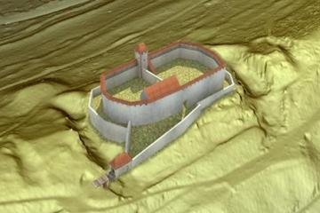 Virtuelle Rekonstruktion der ehemaligen Burganlage. Datengrundlage: Bayerische Vermessungsverwaltung; Bearbeiter: Jürgen Jung, ASP