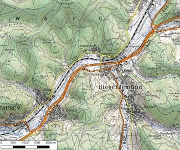 Topographische Übersicht der Umgebung des Wirtheimer Kringels. Datengrundlage: Bayerische Vermessungsverwaltung; Bearbeiter: Jürgen Jung, Spessart-GIS