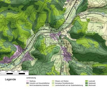 Landnutzung in der Umgebung des Wirtheimer Kringels. Datengrundlage: Statistisches Bundesamt Wiesbaden 1997; Bearbeiter: Jürgen Jung, Spessart-GIS