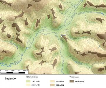 Höhenlagen und Verebnungen in der Umgebung des Wirtheimer Kringels. Datengrundlage: Bayerische Vermessungsverwaltung; Bearbeiter: Jürgen Jung, Spessart-GIS