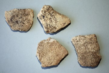 Außerdem wurden wenige Stücke dickwandiger heller Irdenware gefunden.
