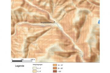 Hangneigungen der Umgebung der Burg Bartenstein. - Bearbeitung: Spessart-GIS, J. JUNG/ASP, Datengrundlage: Bayerische Vermessungsverwaltung [Hrsg.]: Digitale Topographische Karte 1:50 000.