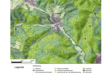 Landnutzung in der Umgebung der Burg Bartenstein. - Bearbeitung: Spessart-GIS, J. JUNG/ASP. Datengrundlage: Statistisches Bundesamt Wiesbaden 1997.