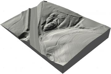 Die Burg Wahlmich in 3D-Schrägansicht von Nordwesten. Geobasisdaten © Bayerische Vermessungsverwaltung 2016, Bearbeitung: Karl-Heinz Gertloff, Egelsbach