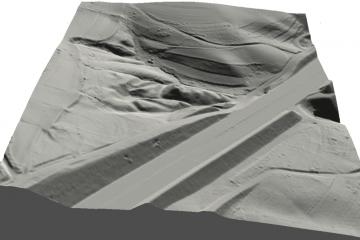 Die Burg Wahlmich in 3D-Schrägansicht von Osten. Geobasisdaten © Bayerische Vermessungsverwaltung 2016, Bearbeitung: Karl-Heinz Gertloff, Egelsbach
