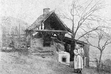 Ein Backhaus im Spessart im Jahre 1910