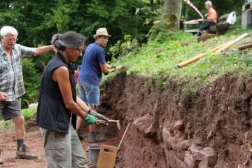In der zweiten Hälfte der Grabung war Porfilputzen angesagt ... und das bei vielen, vielen Wurzeln.