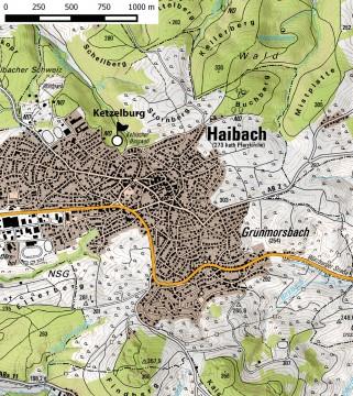 Topographische Übersicht der Ketzelburg bei Haibach. – Kartengrundlage: Bayer. Vermessungsverwaltung, Karte: Jürgen Jung, Spessart-GIS