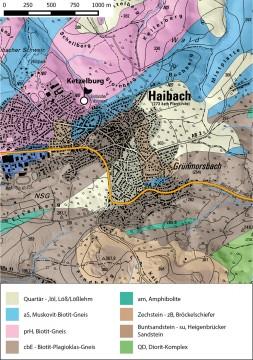 Geologische Übersicht der Ketzelburg bei Haibach. – Kartengrundlage: Bundesanstalt für Geowissenschaften und Rohstoffe, Karte: Jürgen Jung, Spessart-GIS