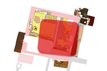... dieses dürfte quadratisch gewesen sein (rote Struktur auf dem Plan).