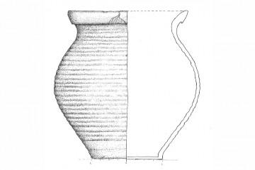 Reduzierend gebrannter Topf mit gerillter Wandung, Untermain, 15. Jahrhundert. Umzeichnung: Jasmin Bortlik