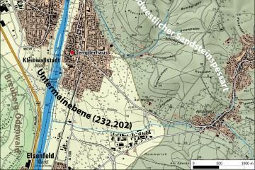 Naturräumliche Einheiten in der Umgebung von Kleinwallstadt. Karte: Spessart-GIS