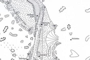 Morphologische und Quartärgeologische Karte der Umgebung Kleinwallstadts. Legende: Kreis (weiß, schwarzer Rand): Mittelterrassenschotter des Mains; kleiner Punkt (schwarz): Ältere Stufe der Unteren Niederterrasse, großer Punkt (schwarz): Untere Niederterrasse des Mains. Karte: Spessart-GIS