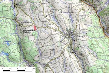 Topographische Übersicht der Umgebung der Wüstung Stubbach. - Bearbeitung: Spessart-GIS, J. JUNG/ASP, Datengrundlage: Bayerische Vermessungsverwaltung [Hrsg.]: Digitale Topographische Karte 1:50.000.