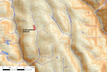 Hangneigungen der Umgebung der Wüstung Stubbach. - Bearbeitung: Spessart-GIS, J. JUNG/ASP, Datengrundlage: Bayerische Vermessungsverwaltung [Hrsg.]: Digitale Topographische Karte 1:50.000