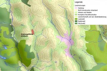 Landnutzung in der Umgebung der Wüstung Stubbach. - Bearbeitung: Spessart-GIS, J. JUNG/ASP. Datengrundlage: Statistisches Bundesamt Wiesbaden 1997
