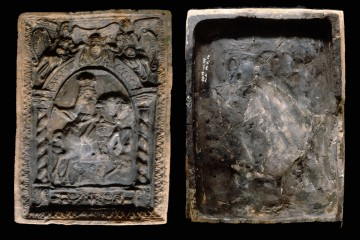 Blattkachel aus der Serie der Kurfürsten zu Pferde, von der Entengasse in Ettlingen. Ettlingen, Albgaumuseum