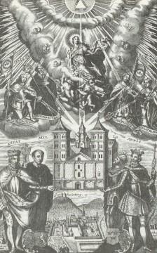 Johann Salver, Titelblatt der Chronik des Klosters Amorbach von 1736, Kupferstich, Foto: Bernhard Springer, Amorbach