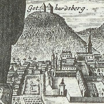 Johann Salver, Titelblatt der Chronik des Klosters Amorbach von 1736 (Detail), Kupferstich, Foto: Bernhard Springer, Amorbach