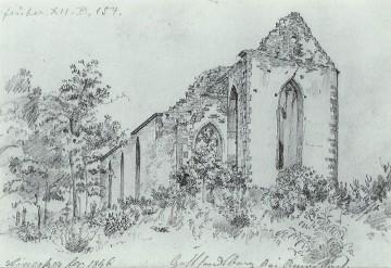 Franz Leinecker, Die Gotthardsruine. Zeichnung von 1846. Foto: Bernhard Springer, Amorbach