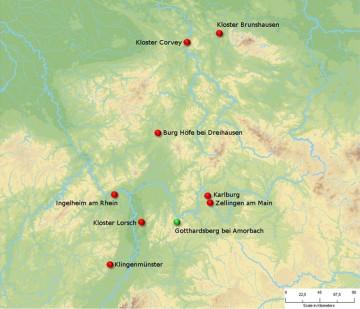 Verbreitung von Fragmenten aus Porfido verde antico in der karolingischen und salischen Epoche. Karte: Jürgen Jung, Spessart-GIS