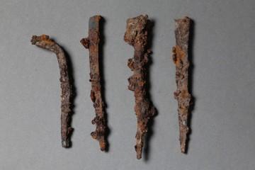 Die Eisennägel dienten zur Fixierung der Dachlattung, Waldaschaff, Burg Wahlmich, um 1250
