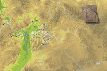 Bodenfliesen kamen zwischen dem 12. und 16. Jahrhundert im westlichen Spessart häufiger zum Einsatz (gelb). Die dekorähnlichen Bodenfliesen waren im gesamten Südwestdeutschland und am Mittelrhein verbreitet (rot). Karte: Jürgen Jung, Spessart-GIS