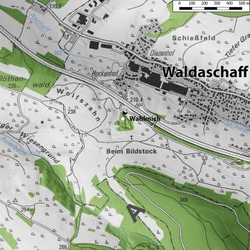 Topographische Übersicht der Umgebung der Wahlmich. - Bearbeitung: Spessart-GIS, J. JUNG/ASP, Datengrundlage: Bayerische Vermessungsverwaltung [Hrsg.]: Digitale Topographische Karte 1:25 000, München