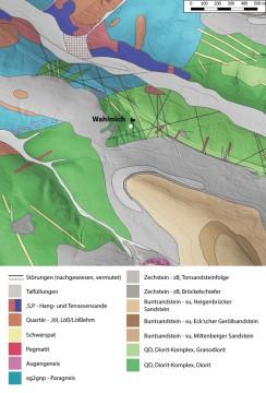 Geologische Übersicht der Umgebung der Wahlmich. -  Spessart-GIS, J. JUNG/ASP, Datengrundlage: Bayerisches Landesamt für Umwelt: Geologische Karte 1: 25 000, GK 6021 Haibach, München