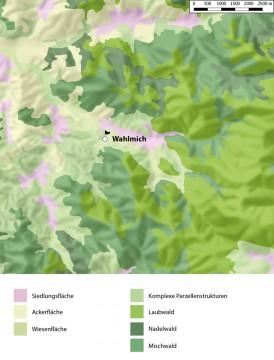 Landnutzung in der Umgebung der Wahlmich. - Bearbeitung: Spessart-GIS, J. JUNG/ASP. Datengrundlage: Statistisches Bundesamt Wiesbaden 1997