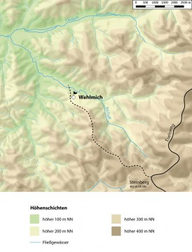 Höhenlagen in der Umgebung der Wahlmich. - Bearbeitung: Spessart-GIS, J. JUNG/ASP, Datengrundlage: Bayerische Vermessungsverwaltung [Hrsg.]: Digitale Topographische Karte 1:50 000, München