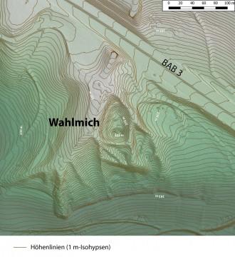 Geländemodell und 1 m-Isohypsen der Umgebung der Wahlmich. -  Spessart-GIS, J. JUNG/ASP, Datengrundlage: Bayerische Vermessungsverwaltung [Hrsg.]: Airborne Laserdaten, Lastpulse, GK3, unregelmäßige Punktdaten, München