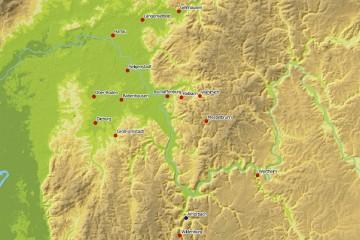 Verbreitung mittelalterlicher und neuzeitlicher Bodenfliesen im Spessart und seinen angrenzenden Regionen. Karte: Jürgen Jung, Spessart-GIS