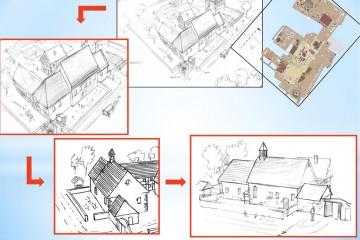 Vom Grabungsplan zu Lebensbildern - Entwurfsskizzen von Illustrator Christian Meyer zu Ermgassen